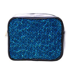 Hexagon1 Black Marble & Deep Blue Water (r) Mini Toiletries Bags by trendistuff