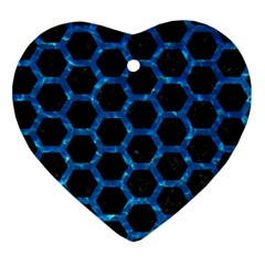 Hexagon2 Black Marble & Deep Blue Water Ornament (heart) by trendistuff