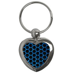 Hexagon2 Black Marble & Deep Blue Water Key Chains (heart)  by trendistuff