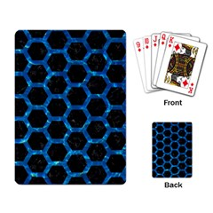 Hexagon2 Black Marble & Deep Blue Water Playing Card by trendistuff