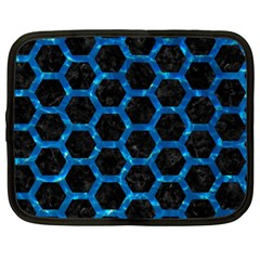 Hexagon2 Black Marble & Deep Blue Water Netbook Case (xl)  by trendistuff