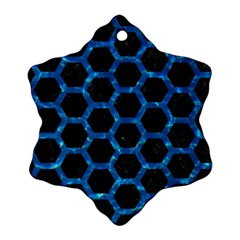 Hexagon2 Black Marble & Deep Blue Water Snowflake Ornament (two Sides) by trendistuff