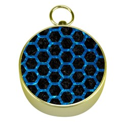 Hexagon2 Black Marble & Deep Blue Water Gold Compasses by trendistuff