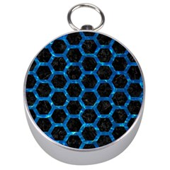 Hexagon2 Black Marble & Deep Blue Water Silver Compasses by trendistuff