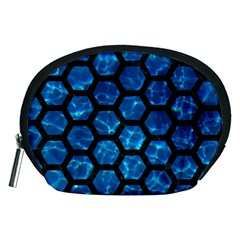 Hexagon2 Black Marble & Deep Blue Water (r) Accessory Pouches (medium)  by trendistuff