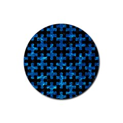 Puzzle1 Black Marble & Deep Blue Water Rubber Coaster (round)  by trendistuff