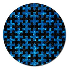 Puzzle1 Black Marble & Deep Blue Water Magnet 5  (round) by trendistuff