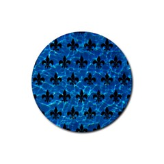 Royal1 Black Marble & Deep Blue Water Rubber Round Coaster (4 Pack)  by trendistuff