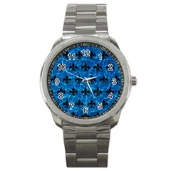 Royal1 Black Marble & Deep Blue Water Sport Metal Watch by trendistuff