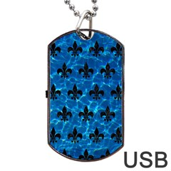 Royal1 Black Marble & Deep Blue Water Dog Tag Usb Flash (one Side) by trendistuff