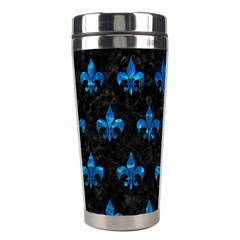 Royal1 Black Marble & Deep Blue Water (r) Stainless Steel Travel Tumblers by trendistuff
