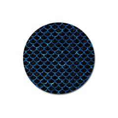Scales1 Black Marble & Deep Blue Water Magnet 3  (round) by trendistuff