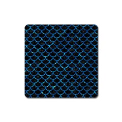 Scales1 Black Marble & Deep Blue Water Square Magnet by trendistuff