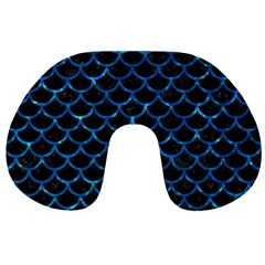 Scales1 Black Marble & Deep Blue Water Travel Neck Pillows by trendistuff