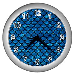 Scales1 Black Marble & Deep Blue Water (r) Wall Clocks (silver)