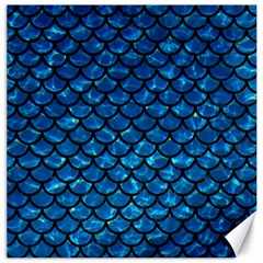 Scales1 Black Marble & Deep Blue Water (r) Canvas 16  X 16   by trendistuff
