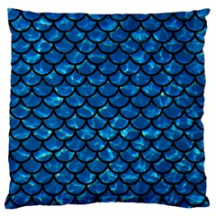 Scales1 Black Marble & Deep Blue Water (r) Large Cushion Case (one Side) by trendistuff