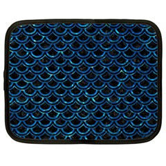Scales2 Black Marble & Deep Blue Waterck Marble & Deep Blue Water Netbook Case (large) by trendistuff