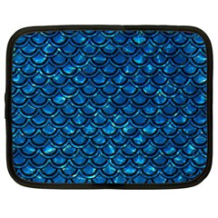 Scales2 Black Marble & Deep Blue Water (r) Netbook Case (large) by trendistuff