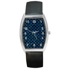 Scales3 Black Marble & Deep Blue Water Barrel Style Metal Watch by trendistuff