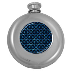 Scales3 Black Marble & Deep Blue Water Round Hip Flask (5 Oz) by trendistuff