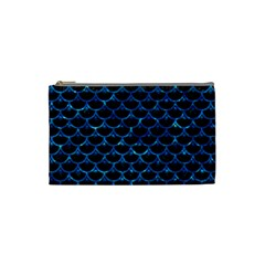 Scales3 Black Marble & Deep Blue Water Cosmetic Bag (small)  by trendistuff