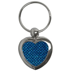 Scales3 Black Marble & Deep Blue Water (r) Key Chains (heart)  by trendistuff