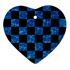 Square1 Black Marble & Deep Blue Water Ornament (heart)