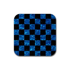 Square1 Black Marble & Deep Blue Water Rubber Square Coaster (4 Pack)  by trendistuff