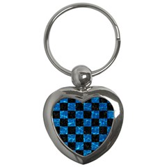 Square1 Black Marble & Deep Blue Water Key Chains (heart)  by trendistuff