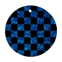 Square1 Black Marble & Deep Blue Water Round Ornament (two Sides) by trendistuff