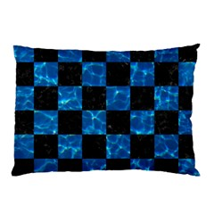 Square1 Black Marble & Deep Blue Water Pillow Case by trendistuff