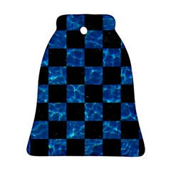 Square1 Black Marble & Deep Blue Water Bell Ornament (two Sides) by trendistuff
