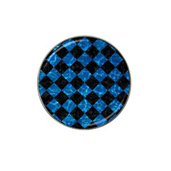 Square2 Black Marble & Deep Blue Water Hat Clip Ball Marker by trendistuff