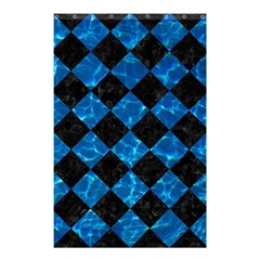 Square2 Black Marble & Deep Blue Water Shower Curtain 48  X 72  (small)  by trendistuff