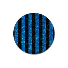 Stripes1 Black Marble & Deep Blue Water Magnet 3  (round) by trendistuff