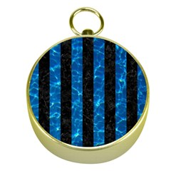 Stripes1 Black Marble & Deep Blue Water Gold Compasses by trendistuff