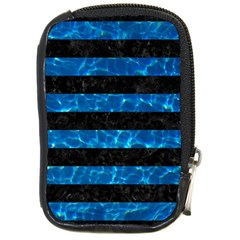 Stripes2 Black Marble & Deep Blue Water Compact Camera Cases by trendistuff