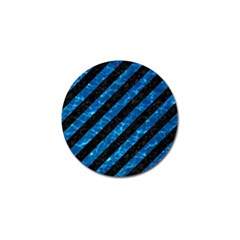 Stripes3 Black Marble & Deep Blue Water Golf Ball Marker by trendistuff