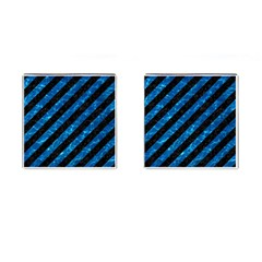 Stripes3 Black Marble & Deep Blue Water Cufflinks (square) by trendistuff