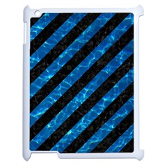 Stripes3 Black Marble & Deep Blue Water Apple Ipad 2 Case (white) by trendistuff