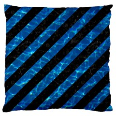 Stripes3 Black Marble & Deep Blue Water Large Cushion Case (one Side) by trendistuff