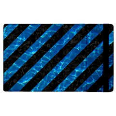 Stripes3 Black Marble & Deep Blue Water Apple Ipad 3/4 Flip Case by trendistuff