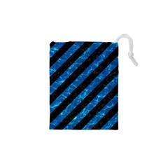 Stripes3 Black Marble & Deep Blue Water Drawstring Pouches (xs)