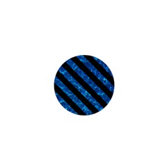 Stripes3 Black Marble & Deep Blue Water (r) 1  Mini Magnets by trendistuff