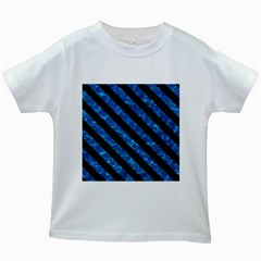 Stripes3 Black Marble & Deep Blue Water (r) Kids White T Shirts