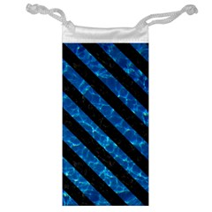 Stripes3 Black Marble & Deep Blue Water (r) Jewelry Bag