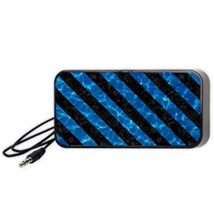 Stripes3 Black Marble & Deep Blue Water (r) Portable Speaker (black) by trendistuff