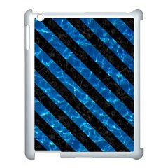 Stripes3 Black Marble & Deep Blue Water (r) Apple Ipad 3/4 Case (white) by trendistuff