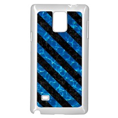 Stripes3 Black Marble & Deep Blue Water (r) Samsung Galaxy Note 4 Case (white) by trendistuff